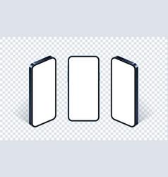 Isometric phone mockup set glass blue vector