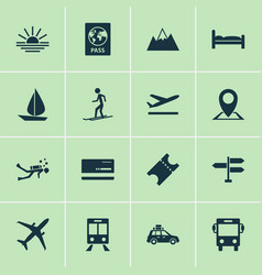 Journey icons set with train diving suv and vector