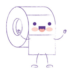 kawaii cartoon toilet paper roll in purple blurred vector image