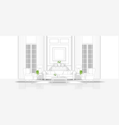 living room in black and white line sketch style vector image