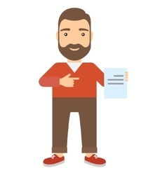 Man points finger at document vector
