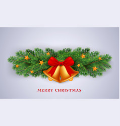 merry christmas gold bells concept background vector image