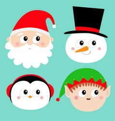 merry year santa claus elf snowman vector image