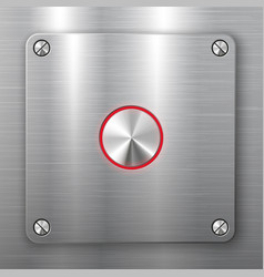 metallic button on square plate vector image