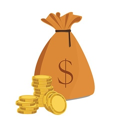 Money bag and coins vector image