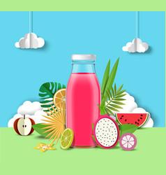 multifruit juice advertising poster design vector image