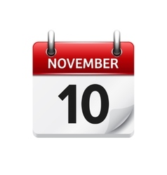November 10 flat daily calendar icon vector