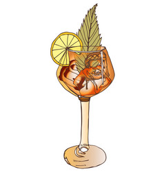 One glass of a festive drink from a bar drawing in vector