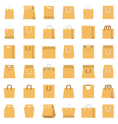 Paper bag icon set flat style vector