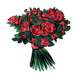 pink roses bouquet isolated on white background vector image