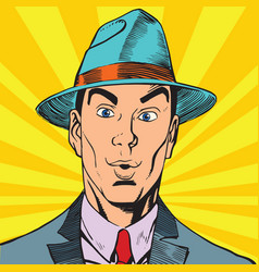 printavatar portrait surprised man in the hat vector image