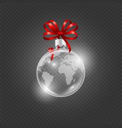 realistic glass ball christmas ball with map vector image