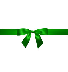 realistic green bow with horizontal green ribbons vector image