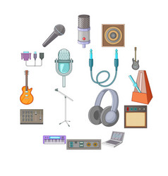 recording studio icons set cartoon style vector image