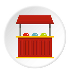 Red carnival fair booth icon circle vector