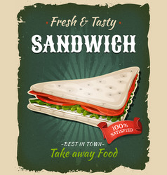 Retro fast food swedish sandwich poster vector