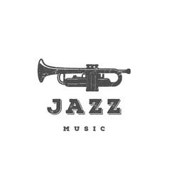 retro vintage trumpet music jazz concert logo vector image