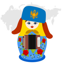 russian nesting doll with accordion vector image