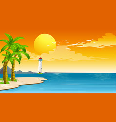 scene with lighthouse and sea at sunset vector image