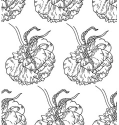 seamless pattern with peony flowers on white vector image