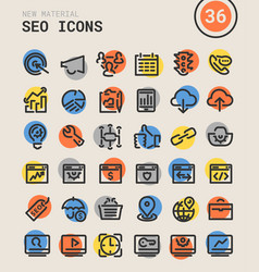 seo bold linear icons vector image