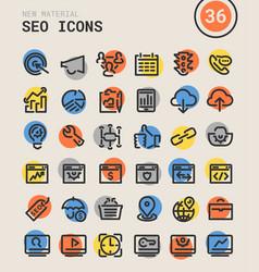 Seo bold linear icons vector