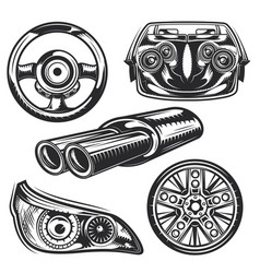 set car parts elements badges logos labels vector image