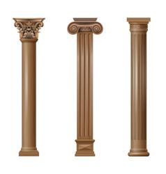 Set classic wood columns vector