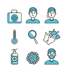 set covid19 19 pandemic icons vector image