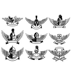 set emblems with helmets and wings design vector image