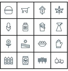 Set of 16 garden icons includes wheelbarrow vector