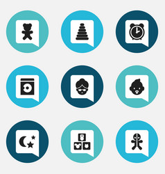 set of 9 editable folks icons includes symbols vector image