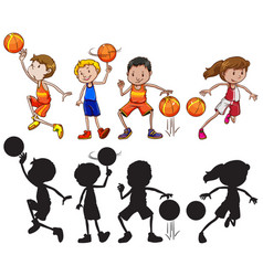 set of basketball athlete character vector image