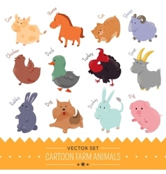 Set of cute cartoon farm animal icon vector