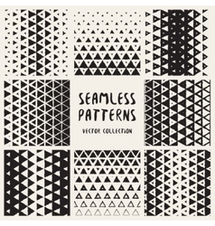 Set of Eight Seamless Hand Drawn Halftone vector