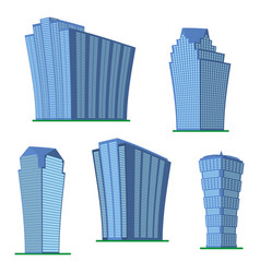 set of five modern high-rise building vector image