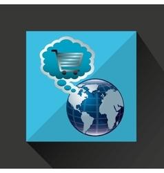 Shiny shopping cart globe online commerce vector