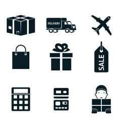 Shopping and shipping isolated icons set vector image