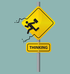 Sign of businessman thinking out of the box vector