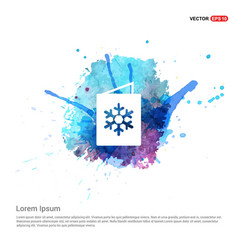 snowflake flat icon - watercolor background vector image
