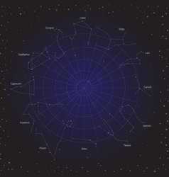 star horoscope zodiac circle in cosmos background vector image