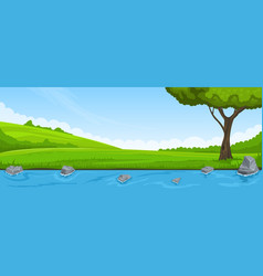 Summer landscape riverbank and tree vector