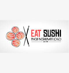 sushi restaurant flat style logo design for food vector image vector image