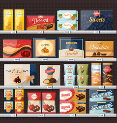 sweets at store or shop showcase with candies vector image