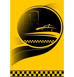 Taxi background with city and car silhouette vector