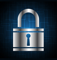 Technology digital cyber security lock background vector