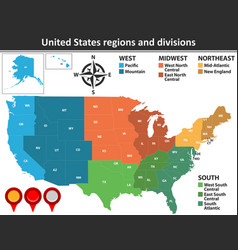 United states regions and divisions vector