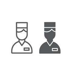 Valet line and glyph icon hotel and service vector