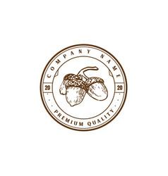 Vintage retro hipster oak nut acron logo design vector