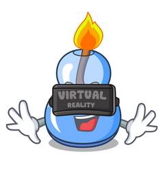 Virtual reality alcohol burner mascot cartoon vector